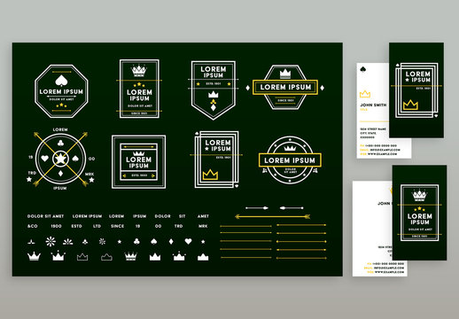 Logo Set and Business Card Layouts with Green and Yellow Accents