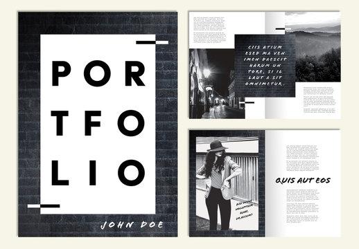 Portfolio Layout with Black Brick Texture