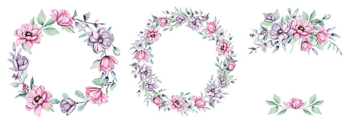 Peonies wreaths, frames with watercolor pink and violet flowers. Floral summer illustration isolated on white background. Hand drawing. Perfectly for wedding, birthday, party, other greetings design.