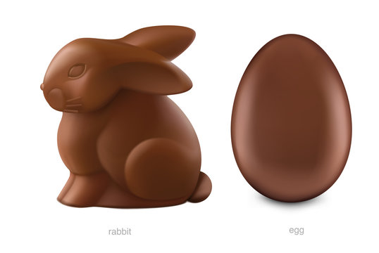 Chocolate easter bunny and chocolate egg isolated on white background. Vector illustration. Ready for your design. EPS10.