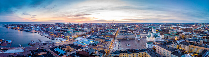 Aerial sunset view of Helsinki in winter time, Finland