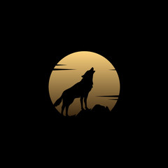 Howling Wolf Silhouette Golden Moon Illustration logo design