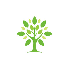 Simple modern tree with green leaves logo design