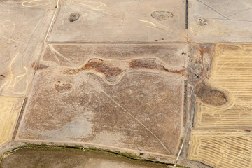 Aerial photography of Victorian countryside near Great Ocean Road, Victoria, Australia during drought