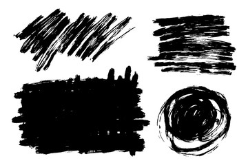 Vector hand drawn brush strokes set with scrawls, stains for backdrops. Monochrome design elements set. One color monochrome artistic hand drawn backgrounds various shapes.