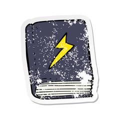 retro distressed sticker of a cartoon magic spell book
