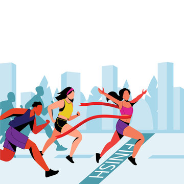 Young girl wins in city marathon. Vector flat illustration. Winner with red ribbon on finish line.