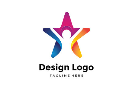 Vector logo design,star and people icon