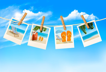 Travel background with vacation photos hanging on a rope. Vector