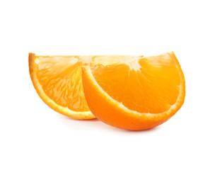 Slices of ripe orange isolated on white