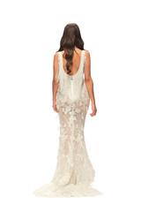 Brunette woman in a wedding dress