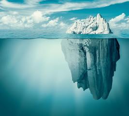 Iceberg in ocean or sea. Hidden threat or danger concept. 3d illustration.