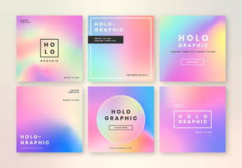 Social Media Post Layouts with Holographic Gradients