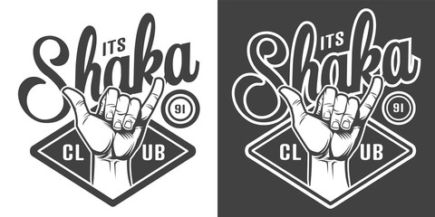 Vintage surfing club monochrome logotype