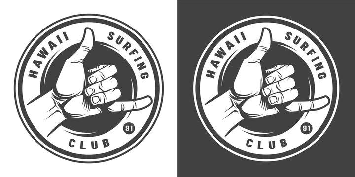 Vintage surfing monochrome round emblem