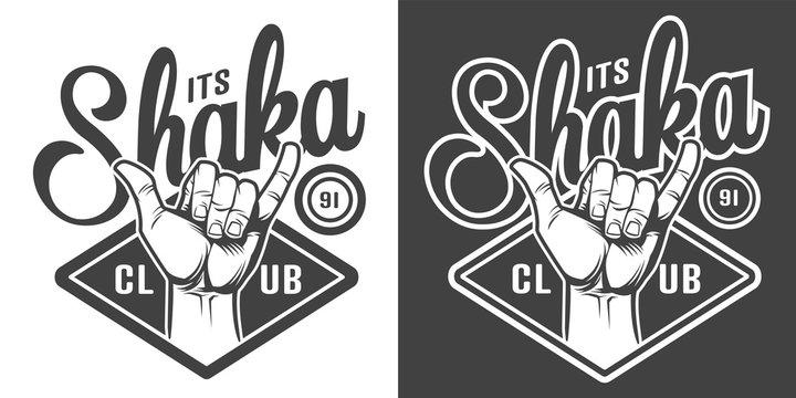 Vintage surfing club monochrome logotype