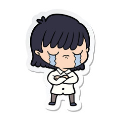 sticker of a cartoon woman crying
