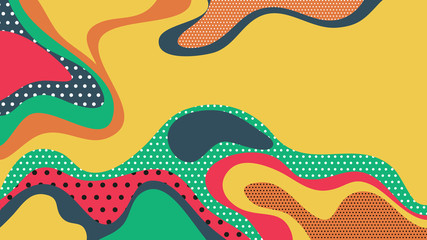 Abstract background, colorful fluid shapes with dotted textures, warm summer tone Wall mural
