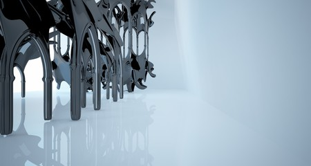 Abstract white and black gothic smooth interior. 3D illustration and rendering.