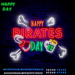 Pirates party Neon Text Vector. Pitate neon icon, design template, modern trend design, night neon signboardVintage pirate emblem glowing neon