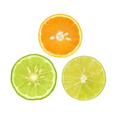 Slice of fresh orange with lime and bergamot isolated on white background