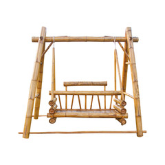 Old Bamboo swing  for outdoor isolated