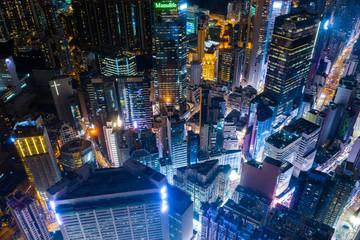 Aerial view of Hong Kong city skyline at night
