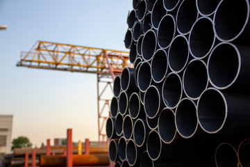 metal pipes against the sky