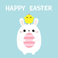 Happy Easter bunny holding painting egg. Chicken on head. Rabbit baby chick bird friends. Farm animal. Cute cartoon kawaii funny character. Blue pastel background. Flat design