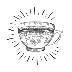 Hand drawn a cup of tea.