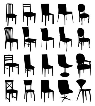 Black chair silhouettes group. Vector set on white background