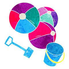 retro cartoon doodle beach balls with a bucket and spade