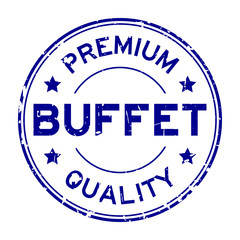 Grunge blue premium quality buffet round rubber seal stamp on white background