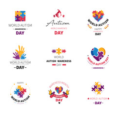 World autism day isolated icon puzzle and hands
