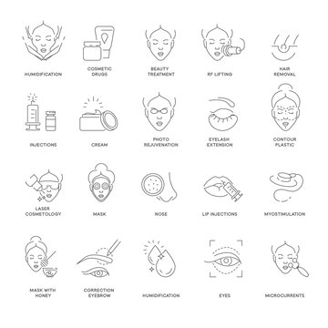 Cosmetology beauty and spa procedure isolated outline icons