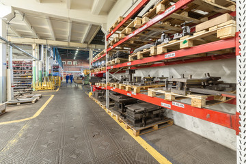 The interior of the metalworking shop. Modern industrial enterprise.