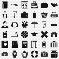 Sport bag icons set. Simple style of 36 sport bag vector icons for web for any design