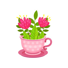 Cute pink flowers and green leaves in cup on saucer. Spring composition. Botanical composition. Flat vector design