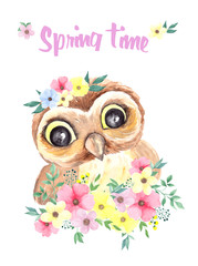Watercolor illustration cute owl and spring flowers