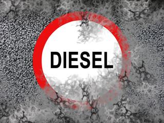 Diesel Fahrverbotsschild mit Abgas Rauch