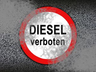 Diesel Fahrverbot Schild mit Rauch und Qualm