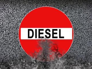 Dieselfahrverbot Schild mit Abgase Rauch