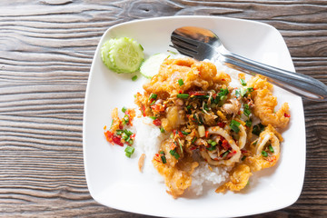 Rice, fried seafood, chili, salt and garlic of Thailand
