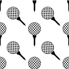 Golf Ball On Tee Icon Seamless Pattern