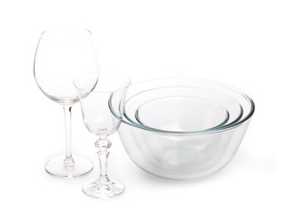 Set of white dishes . table wear