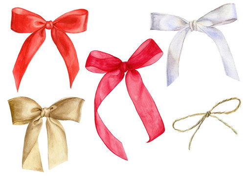 Set of watercolor illustrations of bows