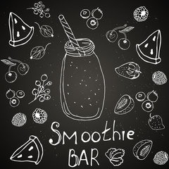 menu, healthy drinks and smoothies, chalk on the board.