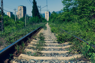 abandoned rail way and stations in abkhazia (cross process)
