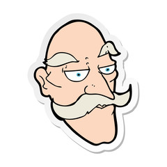 sticker of a cartoon old man face