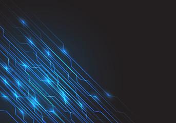 Abstract blue circuit line light energy on black design modern futuristic background vector illustration.